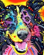 Animal Mixed Media Posters - Sheltie Poster by Dean Russo