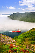 Green Boat Photos - Ship entering the Narrows of St Johns by Elena Elisseeva