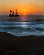 Wooden Ship Prints - Ship Off Rugged Coast Print by Jill Battaglia