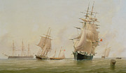 Sailboats Docked Art - Ship Painting by WF Settle