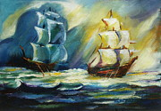Khatuna Buzzell Metal Prints - Ships at Sea Metal Print by Khatuna Buzzell