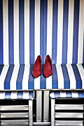 Blue White Prints - Shoes In A Beach Chair Print by Joana Kruse