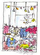 City Scene Drawings - Shop Window Paris by Marilyn MacGregor