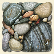 Round Painting Framed Prints - Shore Stones 3 Framed Print by JQ Licensing