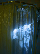 Shower Curtain Photo Posters - Shower Shadows Poster by Beebe  Barksdale-Bruner