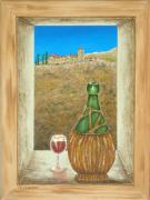Bottle Painting Posters - Sicilian View Poster by Pamela Allegretto