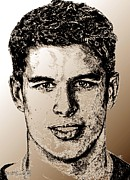 Centre Mixed Media Prints - Sidney Crosby in 2007 Print by J McCombie