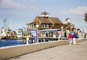 Downtown Area Pictures Prints - Sightseeing at San Diego Seaport Village Boardwalk Print by Sherry  Curry