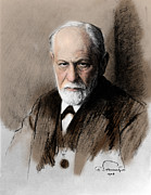 Freud Art - Sigmund Freud, Father Of Psychoanalysis by Photo Researchers