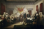 Fathers Paintings - Signing the Declaration of Independence by John Trumbull