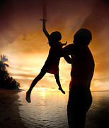 Little Sister Photos - Silhouette Family Of Child Hold On Father Hand by Anek Suwannaphoom