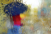 Colorful Beads Posters - Silhouette in the Rain Poster by Carlos Caetano