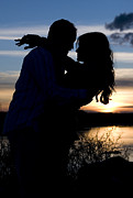 Cindy Singleton Prints - Silhouette of Romantic Couple Print by Cindy Singleton