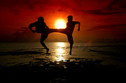Action Sport Arts Posters - Silhouette Of Two People Fighting Poster by Antoni Halim