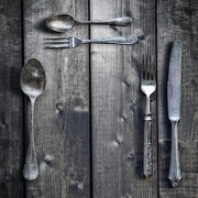 Wooden Table Prints - Silver Flatware Print by Joana Kruse