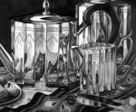 Teapot Drawings - Silver Teapots by Jerry Winick