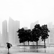 Umbrella Framed Prints - Singapore Umbrella Framed Print by Nina Papiorek