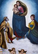 Child Jesus Paintings - Sistine Madonna by Judy Kirouac