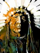 Native American Painting Prints - Sitting Bear Print by Paul Sachtleben