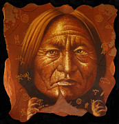 Painted Painting Framed Prints - Sitting Bull Framed Print by Jurek Zamoyski
