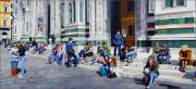 Perspective Paintings - Sitting on the Steps of the Duomo by Matthew Bates
