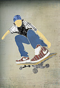 Sports Art Digital Art Posters - Skateboard digital paper collage Poster by Janet Carlson