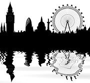 Isolated Digital Art Prints - skyline of London Print by Michal Boubin