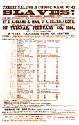 Abolition Photos - Slave Auction Notice by Photo Researchers, Inc.