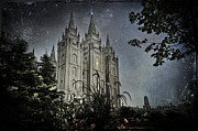 Mormon Temple Photo Acrylic Prints - SLC Vintage Blue Acrylic Print by La Rae  Roberts