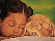 African American Artist Pastels Framed Prints - Sleeping Beauties Framed Print by Curtis James