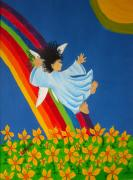 Angel Art Paintings - Sliding Down Rainbow by Pamela Allegretto
