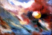 Outer Space Painting Metal Prints - Small Planet Metal Print by Gene Garrison