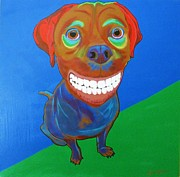 Coyote Art Paintings - Smiley by Bill Manson