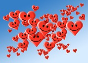 Many Faces Posters - Smiley Heart Face Symbol Poster by Detlev Van Ravenswaay