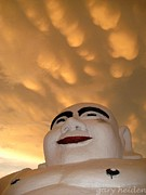 Gary Heiden Acrylic Prints - Smiling Fat Thai Buddha Under Mammocumulus Clouds Acrylic Print by Gary Heiden