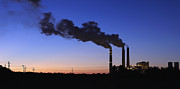 Polluting Prints - Smokestacks Billowing Smoke At Night Print by Skip Nall
