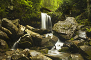 Peaceful Scene Framed Prints - Smoky Mountain Waterfall Framed Print by Andrew Soundarajan