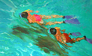 Swimmers Paintings - Snorkelers  by William Ireland