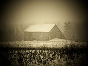 Indiana Landscape Posters - Snow Barn Poster by Michael L Kimble