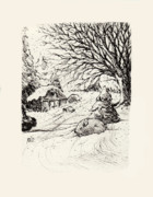 Barn Drawings Prints - Snow Bunny Print by Rachel Christine Nowicki