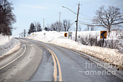 Heavy Weather Prints - Snow By The Roadside Print by Ted Kinsman