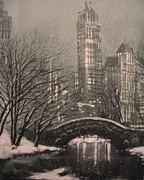 Snow Scene Paintings - Snow in Central Park by Tom Shropshire