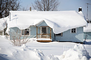 Heavy Weather Prints - Snow On A House Print by Ted Kinsman