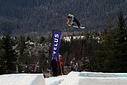 Snow Board Prints - Snowboarder at the Telus snowboard festival Whistler 2010 Print by Pierre Leclerc