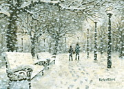 Snowy Night Painting Posters - Snowing in the Park Poster by Kalen Malueg