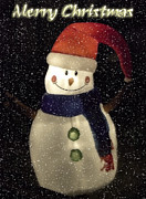 Holiday Greetings Posters - Snowman  Poster by Saija  Lehtonen