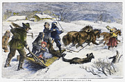 Sled Dog Framed Prints - Snowstorm In The Country Framed Print by Granger
