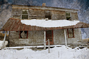 Abandoned Farm House Posters - Snowy Abandoned Homestead Porch Poster by John Stephens