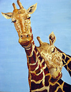 Zoo Animals Paintings - Snuggling Giraffes by Arlene Woo