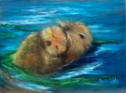 Otter Paintings - Snuggling by Sally Seago
